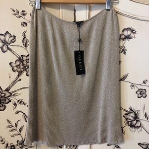 Gucci Gold/Beige Metallic Knee-Length Skirt, Sz M
